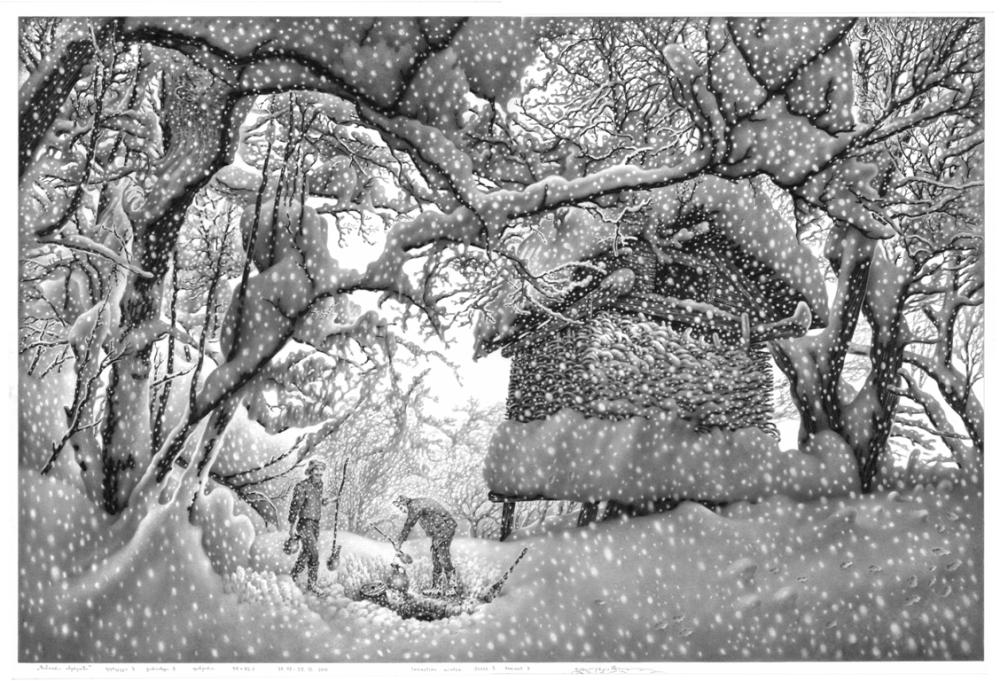 """""""ზამთარი  იმერეთში"""".    ფურცელი   3.   ვარიანტი 3.   ფანქარი.     55x82,3.         29.09-29.12.  2015"""