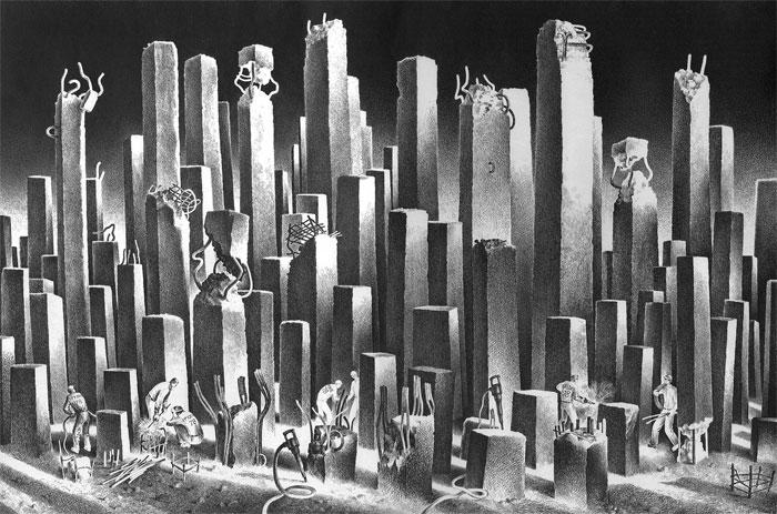 კამაზს ქართველებიც აშენებენ...  ქაღალდი, ტუში. 1978.