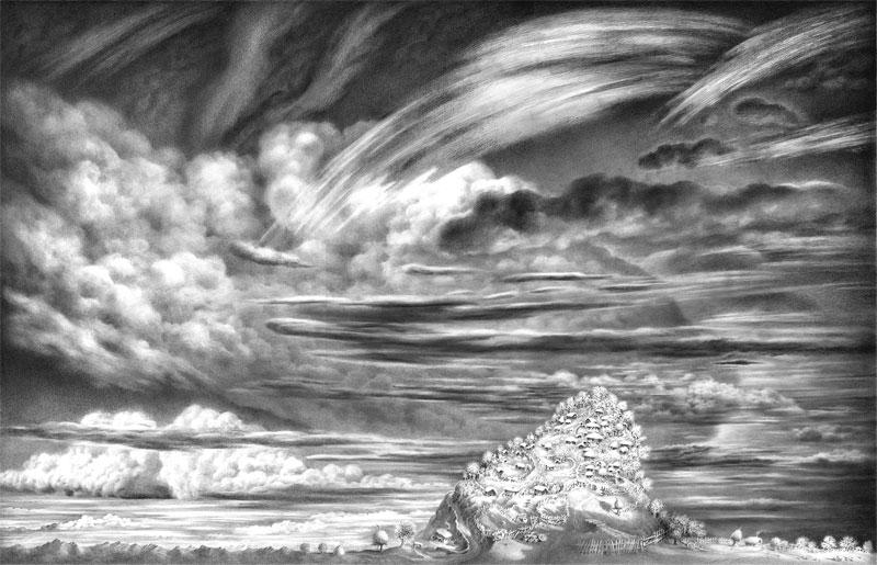 """იმერეთი ზღაპარია.  სერიიდან """"ღრუბლები"""".  ფურცელი 1.  ფანქარი. 43х66,5. 12.03. 2003-4.10. 2005."""